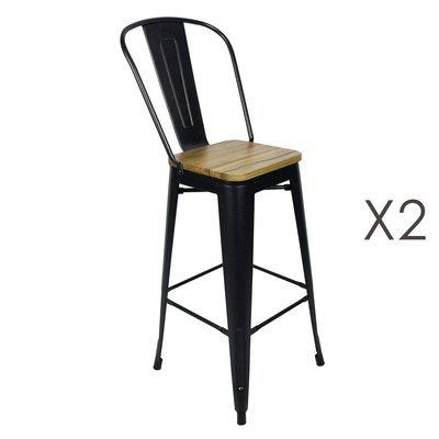 Lot de 2 chaises de bar 43x43x117 cm en bois et métal - ARTY
