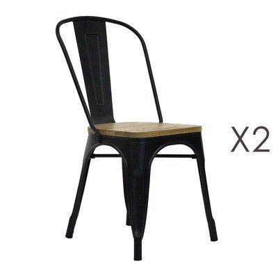Lot de 2 chaises repas 40x44x86 cm en bois et métal - ARTY