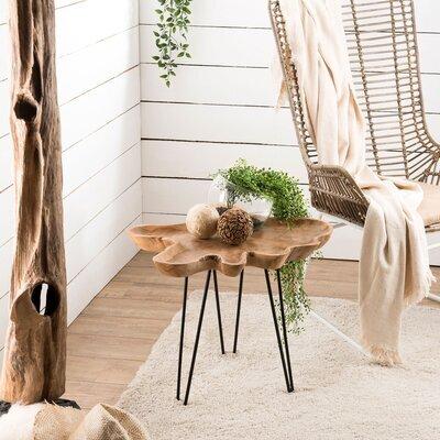 Table d'appoint avec plateau forme naturelle en teck