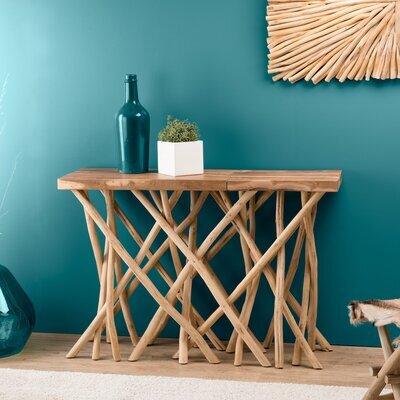 Console 120 cm en teck avec piètement en bois flotté naturel