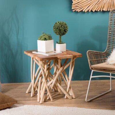 Table d'appoint 55 cm en teck avec piètement en bois flotté naturel