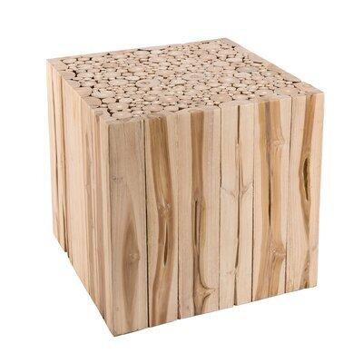 Bout de canapé carré 45,5 cm en branches - teck