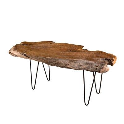 Table basse forme naturelle 118 cm en teck naturel