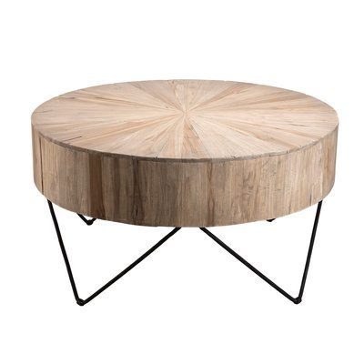 Table basse ronde 90 cm en teck naturel