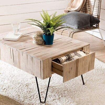 Table basse 90 cm avec 2 tiroirs en teck naturel