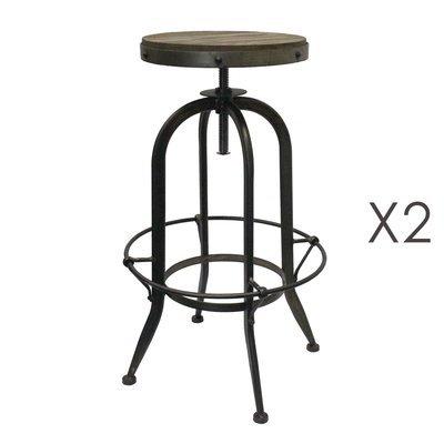 Lot de 2 tabourets de bar en bois et métal noir - ATELIER METAL