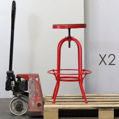Lot de 2 tabourets de bar en bois et métal rouge - ATELIER METAL