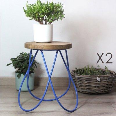 Lot de 2 tabourets design en bois et métal bleu - MELODIE