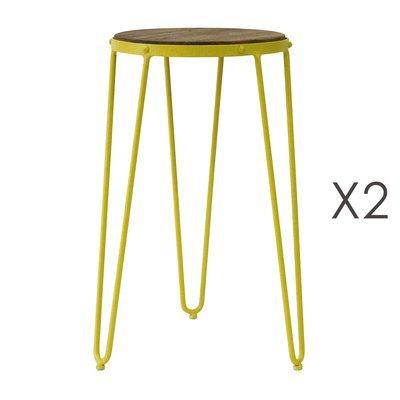 Lot de 2 tabourets 36x36x55 cm en métal jaune - MELODIE