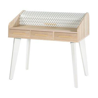 Bureau chêne/blanc avec 3 tiroirs chêne et rideau décor vagues