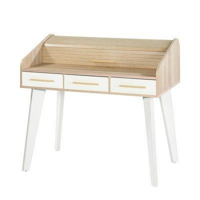 Bureau chêne/blanc avec 3 tiroirs blancs et rideau chêne