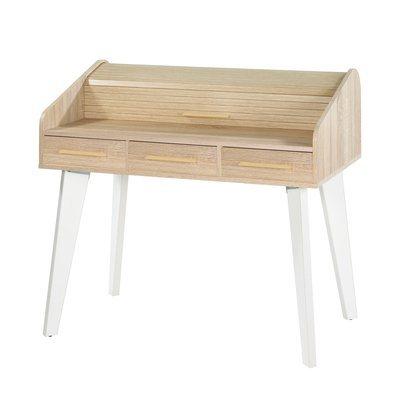 Bureau chêne/blanc avec 3 tiroirs chêne et rideau chêne
