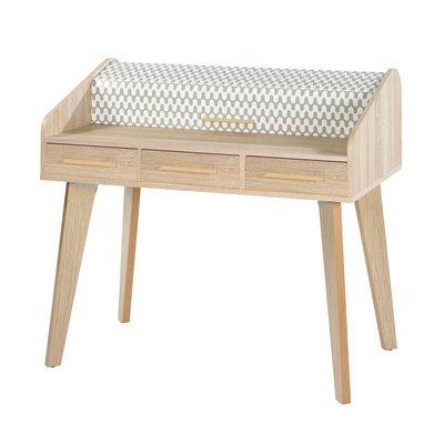 Bureau chêne avec 3 tiroirs chêne et rideau décor vagues