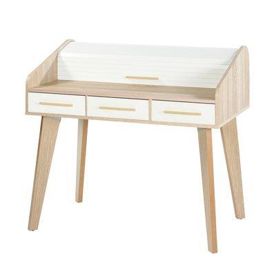 Bureau chêne avec 3 tiroirs blancs et rideau blanc