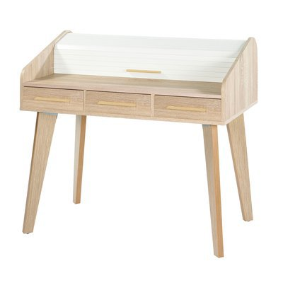 Bureau chêne avec 3 tiroirs chêne et rideau blanc