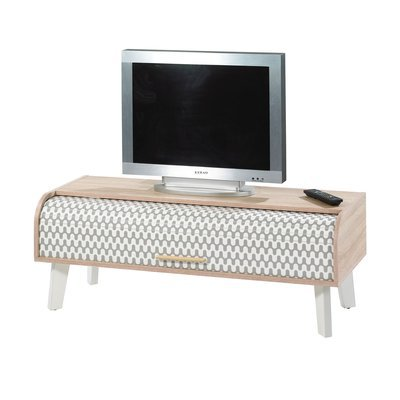 Meuble TV 114 cm chêne/blanc et rideau décor vagues