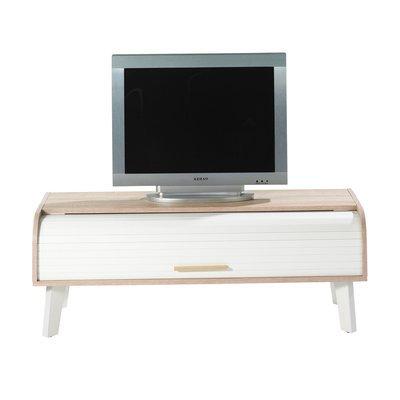 Meuble TV 114 cm chêne/blanc et rideau blanc