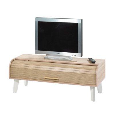 Meuble TV 114 cm chêne/blanc et rideau chêne
