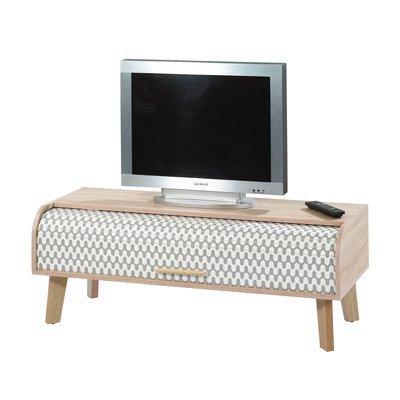 Meuble TV 114 cm chêne et rideau décor vagues