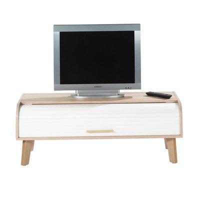 Meuble TV 114 cm chêne et rideau blanc