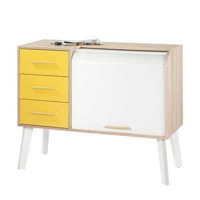 Meuble d'entrée chêne/blanc avec 3 tiroirs jaunes et rideau blanc