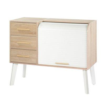 Meuble d'entrée chêne/blanc avec 3 tiroirs chêne et rideau blanc