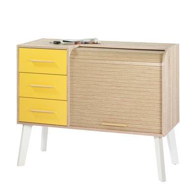 Meuble d'entrée chêne/blanc avec 3 tiroirs jaunes et rideau chêne