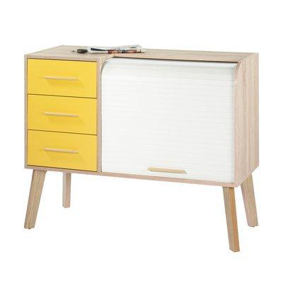 Meuble d'entrée chêne avec 3 tiroirs jaunes et rideau blanc
