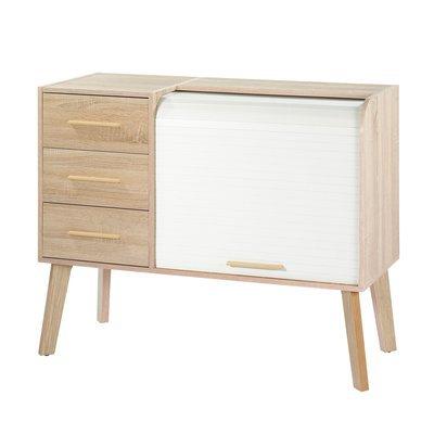 Meuble d'entrée chêne avec 3 tiroirs chêne et rideau blanc