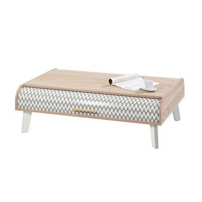 Table basse 114 cm chêne/blanc et rideau blanc