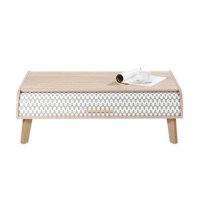 Table basse 114 cm chêne et rideau décor vagues