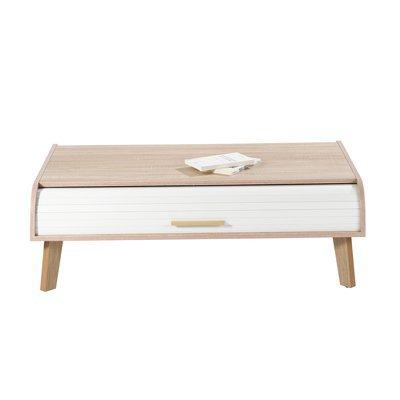 Table basse 114 cm chêne et rideau blanc