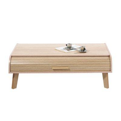 Table basse 114 cm chêne et rideau chêne