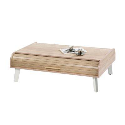 Table basse 114 cm chêne/blanc et rideau chêne
