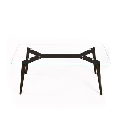 Table basse 120x60x45 cm en chêne noir et plateau en verre