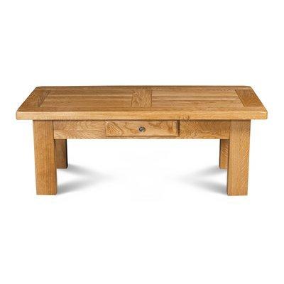 Table basse rectangulaire 1 tiroir chêne clair