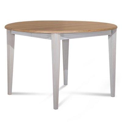 Table ronde 115 cm en chêne pieds fuseau patinés blanc