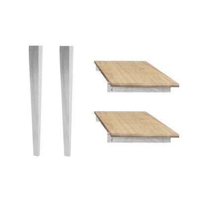 Lot de 2 allonges et 2 pieds fuseau - 105 cm - chêne patiné blanc