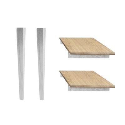 Lot de 2 allonges et 2 pieds fuseau - 115 cm - chêne patiné blanc