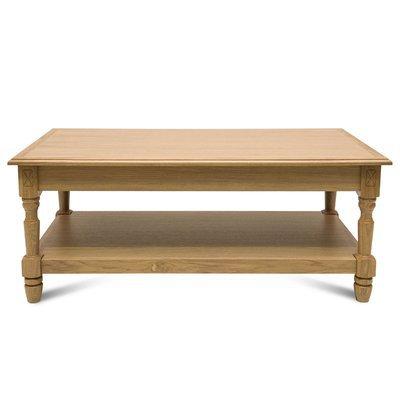 Table basse 120 cm avec 1 tiroir et pieds tournés en chêne naturel