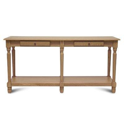 Console 160 cm avec 2 tiroirs et pieds tournés en chêne naturel