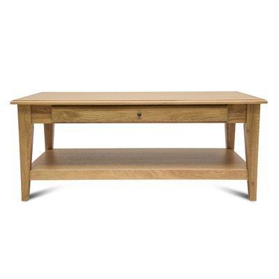 Table basse 120 cm avec 1 tiroir et pieds fuseau en chêne naturel