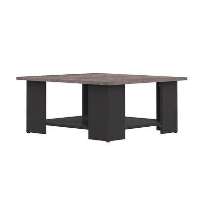 Table basse 67x67x31 cm noir et plateau béton - MODERN