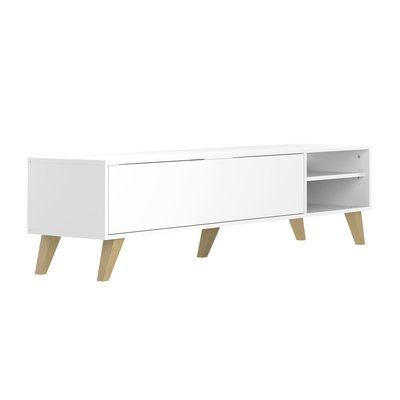 Meuble TV 1 porte et 2 niches 165x40x43 cm blanc - SWEDEN