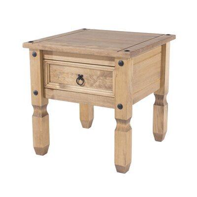 Table de chevet 1 tiroir 54x54x55 cm en pin massif - SERGO