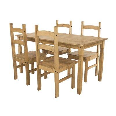 Ensemble table à manger 118 cm + 4 chaises en pin massif - SERGO