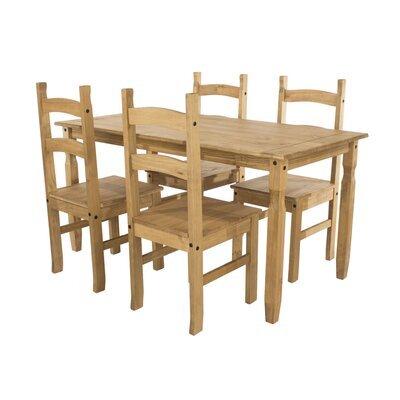 Ensemble table à manger 150 cm + 4 chaises en pin massif - SERGO