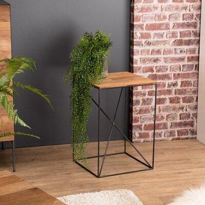 Table d'appoint carrée 35x35x50 cm en teck recyclé et métal - PHRAE