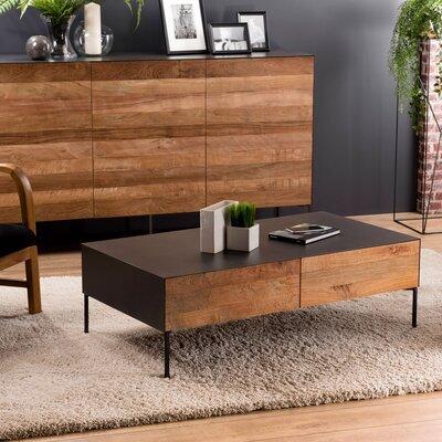 Table basse 111 cm 2 tiroirs en teck recyclé et métal - PHRAE