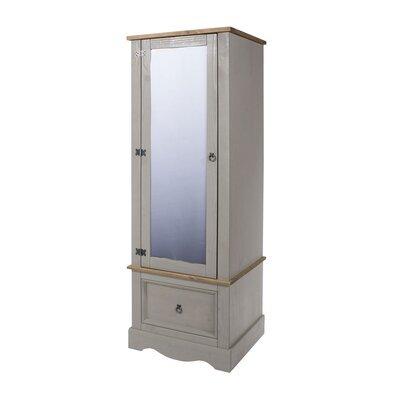 Armoire 1 porte et 1 tiroir 66x55,5x188 cm gris et naturel - SERGO